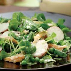 Mâche & Chicken Salad with Honey-Tahini Dressing Recipe