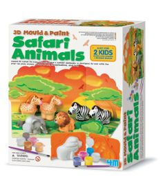Amazon.com : 4M 3D Mold and Paint Safari Animals Kit : Childrens Arts And Crafts Kits : Toys & Games