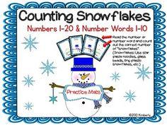 Counting Snowflakes Practice Mats (Numbers 1-20 & Number Words Zero-Ten) #Christmas #Commoncore #winter #ELA #Math #Kindergarten #Teacherspayteachers #workmats #numbers #numberwords