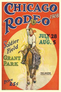 Cowboy Print  Chicago Rodeo 1928  18x24 by LuckyStarsRanchTX, $24.99
