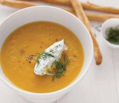 My favorite carrot ginger soup recipe. I didn't bother with the dill cream and it was perfect.