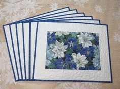 Quilted Placemats  Blue Poinsettia 393 by QuiltinWaYnE on Etsy