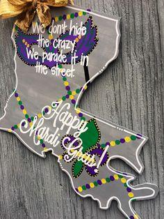 Louisiana Door Hanger  Mardi Gras Door Hanger