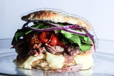 Duck Confit, Brie, Honey, Balsamic Roasted Tomatoes, Arugula, and Red Onion on a Sage Buttermilk Biscuit