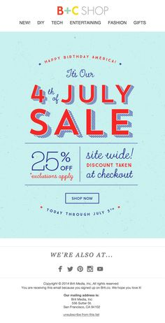 Happy 4th of July Sale Email