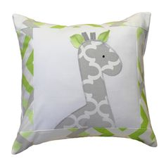 Unique accent pillow with giraffe applique