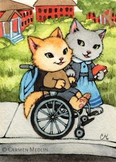 Stroll on Campus cat in a wheelchair art print by Carmen Medlin