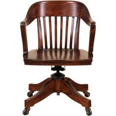 Etonnant Swivel 1920 Antique Adjustable Birch Desk Chair