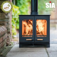 Ecosy+ Panoramic Twin Door Defra Approved 5kw Eco Design Ready (2022) - Woodburning Stove - 5 Year Guarantee Eco Design, Clever Design, Stove Accessories, Multi Fuel Stove, Air Supply, Traditional Fireplace, British Standards, Chrome Handles, Sign Off