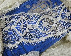 Antique Silk Armenian Lace, wide with scallop edge ...early 1900s vintage trim, for heirloom sewing, fabric art, crazy quilting - LY140906