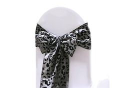 5 PCS Silver / Black Tafetta Leopard Print Chair Sashes Catering Wedding Party Decorations - 6x108""