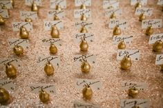 Gold pears used to hold escort cards