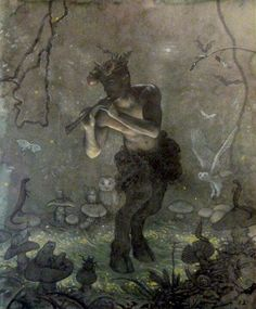 Pan's Night Song} by {Allen Todd Yeager}{Mythical Creatures- Fauns}The first fauns were mentioned in Greek and Roman mythology. They lived in forests and in Greek mythology were associated with the Greek God Pan. Magical Creatures, Fantasy Creatures, Forest Creatures, Dark Creatures, Woodland Creatures, Beautiful Creatures, Fantasy World, Fantasy Art, Illustrations
