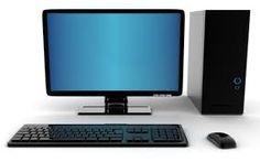 Dit is een beeldscherm een toetsenbord en muis en computerkast  op deze computer staat waarschijnlijk windows