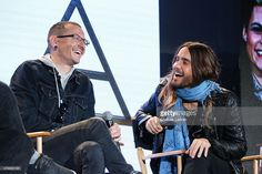 Vocalists Chester Bennington (L) and Jared Leto attend the 'Carnivores' tour announcement with Linkin Park, 30 Seconds to Mars and AFI at Milk Studios on March 4, 2014 in Hollywood, California.