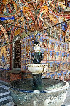 interior frescoes, Rila Monastery, Bulgaria