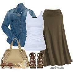 Olive maxi skirt...Nice