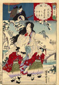 Image Title: Yamashiro, snow at Fushimi, Lady Tokiwa, Otowaka  Artist: Yoshu Chikanobu  Creation Date: 1884  Nationality: Japanese …