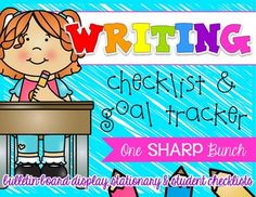 Teach your students to independently check their own writing with this writing checklist!  In this packet, you will find checklist cards for your bulletin board, 12 different kinds of writing paper with two types of lines, a complete checklist to use with other forms of writing paper, as well as writing goal labels and goal trackers.This is meant to be a growing checklist, meaning that you will only start with one item on the checklist and add more as the year progresses!