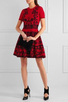 Black and red jacquard-knit Slips on  77% viscose, 15% polyester, 6% polyamide, 2% elastane Dry clean Made in Italy