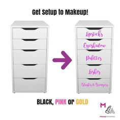Makeup Vanity Stickers Decals Makeup Organization Set of ten. Perfect for the alex drawers from Ikea.