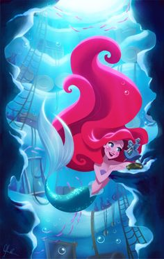 Imagen de disney, ariel, and the little mermaid Disney Pixar, Disney And Dreamworks, Disney Animation, Disney Magic, Walt Disney, Disney Artwork, Disney Fan Art, Disney Drawings, Princesa Ariel Disney