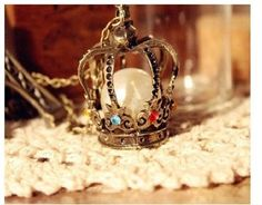 Princess Crown Pearl Multi Colored Stones Vintage Necklace Fashion Jewelry
