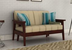 Buy three seater sofa online in UK from comfortable range of wooden & fabric sofa 3 seater at best price. Unfinished Wood Furniture, Wooden Sofa Set Designs, Cushions On Sofa, Sofa Sofa, Sofa Set Online, Simple Sofa, Leather Sofa Set, Living Room Sofa Design, Types Of Sofas
