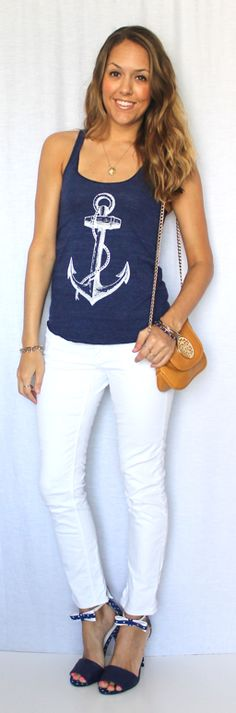 Dress our tees & tanks up or down! Head over to @J's Everyday Fashion Blog http://www.jseverydayfashion.com/2013/04/todays-everyday-fashion-anchors-aweigh.html to see what she paired with our Anchor Tank. Get yours TODAY http://www.skipnwhistle.com/nautical-anchor-tank-top-8-color-choices/ & set sail for spring!