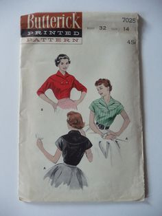Butterick 7025 Vintage 1950's Sewing Pattern: Dolman Sleeve Blouse with Curved Yoke