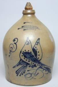 Cobalt-Blue Decorated Salt Glazed Stoneware Crock, S. Hart, Fulton New York Mid-19th Century