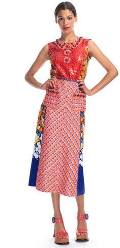 Stripe Tweed Dress with Floral Panels