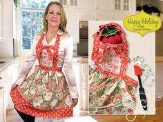 Happy Holidays with FreeSpirit & Rowan: Country Fresh Double Flounce Apron | Sew4Home    ||Without the silly center bow thing, and I'd probably make the top flounce a removable towel.