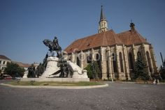 Cluj-Napoca, Transylvania, Romania. Equestrian monument dedicated to the King Matei Corvin and his four generals in the main square of the city