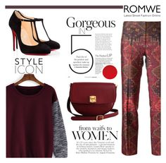 """Romwe"" by pankh ❤ liked on Polyvore featuring Tory Burch, The Code and Christian Louboutin"