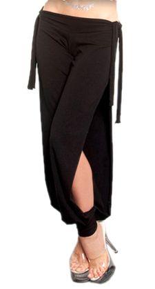 Comfy Stretch Harem Pants with Side Ties & Slits - BLACK