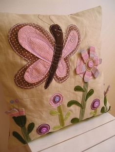 Buttefly pillow by krakracraft, via Flickr