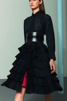 Alaia via Lovely Lanvin - the shirt pattern, laser cut belt and the ruffled skirt Passion For Fashion, Love Fashion, Runway Fashion, High Fashion, Womens Fashion, Fashion Design, Vogue, Dries Van Noten, Azzedine Alaia