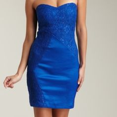 """Romeo & Juliet Couture strapless lace zipper dress Romeo & Juliet Couture Royal blue with lace strapless cocktail dress.  Brand new, it's never been worn. Approx measurements: bust 32; waist 30; hips 36; full length 29"""". Romeo & Juliet Couture Dresses Mini"""