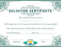 certificate of salvation template