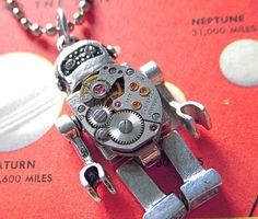 Steampunk Robot Necklace Vintage Watch Movement by CosmicFirefly, $55.00