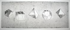 Platonic Solids: Hand-made Print of these 5 polyhedra – only 20 copies available