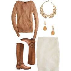 A fashion look from December 2012 featuring long sleeve sweater, j crew skirts and leather riding boots. Browse and shop related looks. Classy Work Outfits, Cute Outfits, Pencil Skirt Outfits, Pencil Skirts, Winter Skirt Outfit, Professional Wardrobe, Boating Outfit, Work Attire, Outfit Work