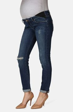Paige Denim 'Jimmy Jimmy' Skinny Boyfriend Maternity Jeans (Tawni Destruction) available at #Nordstrom