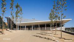 Image 1 of 15 from gallery of Sabadell Sport Center / Corea & Moran Arquitectura. Photograph by Simón García Technical Architect, Sports Complex, Facade, Construction, Landscape, Beach, Water, Outdoor Decor, Club