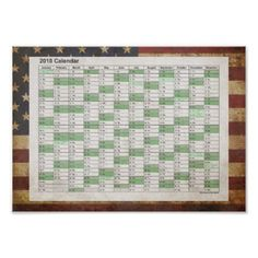 USA / Grunged Flag Poster Calendar 2018 - independence day 4th of july holiday usa patriot fourth of july