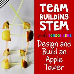 Team Building Back to School STEM Activity from the Beginning of the Year STEM Bundle by Jewel's School Gems. This fun Apple Tower Team Building STEM Challenge is perfect for the first day or week of back to school! Challenge your students to design and build a free-standing apple tower out of apples and straws. Elementary children will not only design and build, but also develop and improve teamwork in the classroom. #backtoschoolstemactivities #teambuildingstemactivities