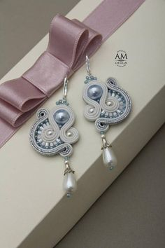 Wedding Earrings for Bride Pearl Dangle Earrings Light Blue Wedding Jewelry Wedding Gift For Bride Winter Wedding Jewelry Soutache jewelry White earrings made in soutache embroidery technique. This earrings are perfect for your wedding or for your especial day. You can also wear