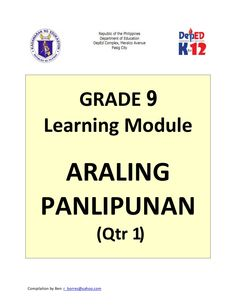 Grade 9 Learning Module in Araling Panlipunan - Quarter 1 only A compilation Free! Line Tracing Worksheets, 1st Grade Worksheets, Early Education, Childhood Education, Infant Lesson Plans, Daily Lesson Plan, Daycare Forms, Addiction Quotes, Preschool Graduation