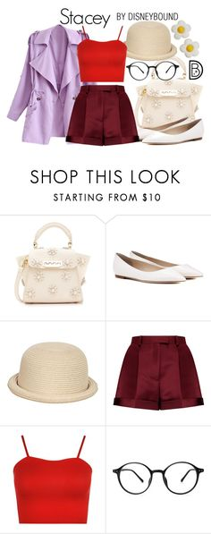 """""""Stacey"""" by leslieakay ❤ liked on Polyvore featuring ZAC Zac Posen, Jimmy Choo, Pilot, Valentino, WearAll, disney, disneybound, disneycharacter and agoofymovie"""